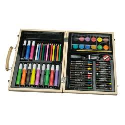 Set de colorat pentru copii in valiza de lemn Maxi