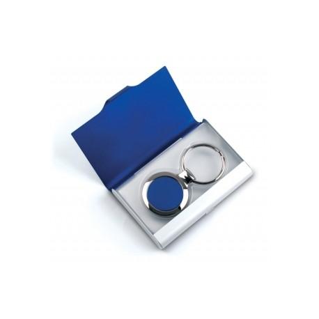 Set suport carti de vizita metalic si breloc
