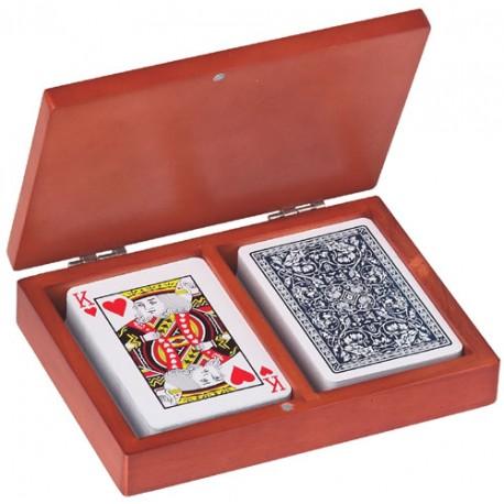 Set carti de joc in cutie de lemn