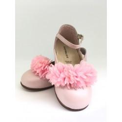 Pantofi piele cu floricica sifon  BABYWALKER