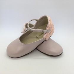 Pantofi din piele, cu flori BABYWALKER