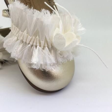 Pantofi din piele cu fundita din matase BABYWALKER