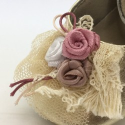 Balerini din piele cu floricica si dantela, BABYWALKER