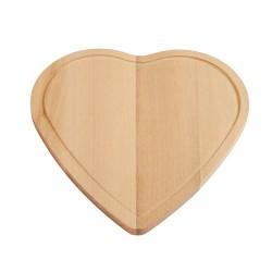 Tocator din lemn in forma de inima